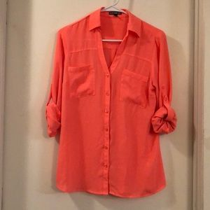 Bright coral collared button up
